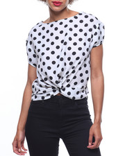 Fashion Tops - Polka Dot Wrap Front L/S Blouse-2218559