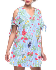 Dresses - Cold Shoulder Floral Stripe Dress-2218564