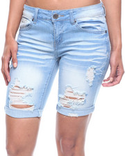 Bottoms - Destructed Denim Bermuda-2220240