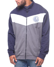 Track Jackets - Lt Blue Chevron Blocked Track jacket (B&T)-2221593