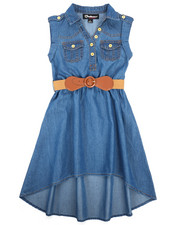 Dollhouse - Belted Hi Low Chambray Dress (4-6X)-2220855