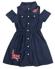 Dollhouse - Cold Shoulder Denim Shirt Dress (4-6X)-2220868