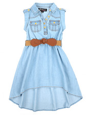 Dollhouse - Belted Hi Low Chambray Dress (4-6X)-2220846