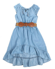 Dollhouse - Belted Hi Low Ruffle Chambray Dress (4-6X)-2220837