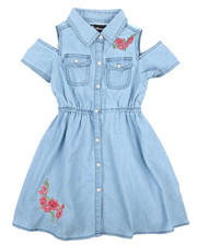 Dollhouse - Cold Shoulder Denim Shirt Dress (4-6X)-2220880