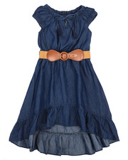Dollhouse - Belted Hi Low Ruffle Chambray Dress (4-6X)-2220828
