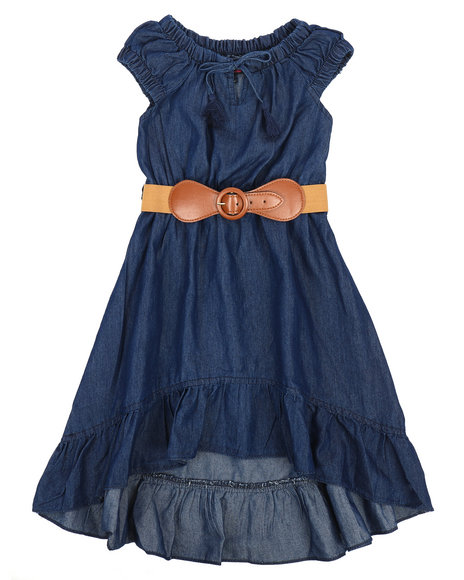 Dollhouse - Belted Hi Low Ruffle Chambray Dress (4-6X)