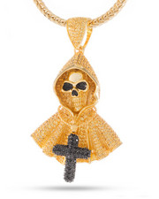 King Ice - 14k Gold Grim Reaper Necklace-2221030