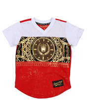 SWITCH - Color Block Foil Print Football Jersey (4-7) -2220338