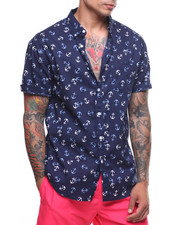 Mens-Swim - S/S Tonal Anchor Linen Shirt-2222372