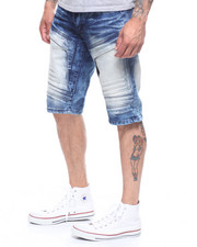 SMOKE RISE - EMBOSSED SEAMED DENIM SHORT-2222690