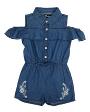 Dollhouse - Cold Shoulder Sleeveless Denim Romper (2T-4T)-2222279