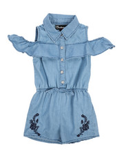 Dollhouse - Cold Shoulder Sleeveless Denim Romper (2T-4T)-2222282