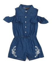 Dollhouse - Cold Shoulder Sleeveless Denim Romper (7-16)-2222290