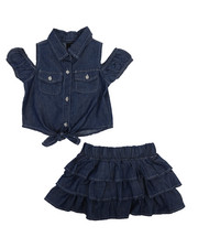 Sizes 2T-4T - Toddler - 2 Piece Chambray Skirt Set (2T-4T)-2222336