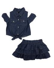 Sets - 2 Piece Chambray Skirt Set (2T-4T)-2222336