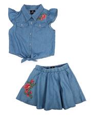 Sizes 7-20 - Big Kids - 2 Piece Chambray Circle Skirt Set (7-16)-2222384