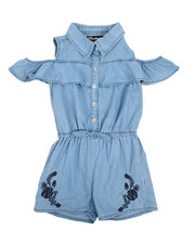 Dollhouse - Cold Shoulder Sleeveless Denim Romper (4-6X)-2222294