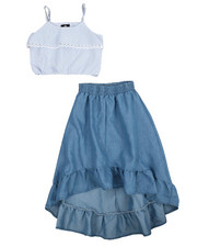 Girls - 2Pc Chambray Maxi Skirt Set (7-16)-2222302