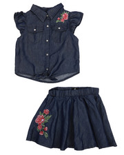 Sizes 7-20 - Big Kids - 2 Piece Chambray Circle Skirt Set (7-16)-2222362