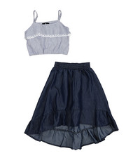 Girls - 2Pc Chambray Maxi Skirt Set (7-16)-2222306
