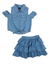 Sizes 7-20 - Big Kids - 2 Piece Chambray Skirt Set (7-16)-2222320