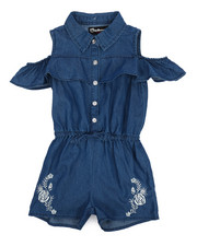Dollhouse - Cold Shoulder Sleeveless Denim Romper (4-6X)-2222275