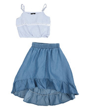 Dollhouse - 2Pc Chambray Maxi Skirt Set (4-6X)-2222298