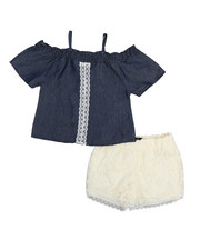 Dollhouse - 2 Piece Crochet Short & Chambray Top Set (7-16)-2222635