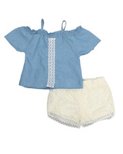 Dollhouse - 2 Piece Crochet Short & Chambray Top Set (7-16)-2222551