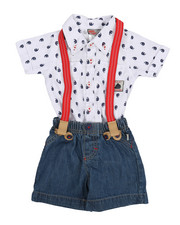 Duck Duck Goose - Novelty Print Woven Short/Creeper Set (0-12 Mo.)-2222944