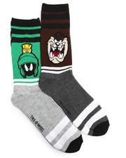 DRJ SOCK SHOP - Marvin The Martian/Taz 2 Pack Crew Socks-2221665