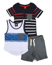 Arcade Styles - Knit Tops & Twill Bottom 3 Piece Short Set (2T-4T)-2223724
