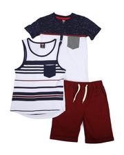 Sets - Knit Tops & Twill Bottom 3 Piece Short Set (8-20)-2223732