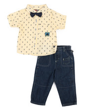Duck Duck Goose - Yarn Dye Novelty Bow Tie Top/Pant Set (Infant)-2223496