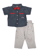 Duck Duck Goose - Yarn Dye Novelty Bow Tie Top/Pant Set (Infant)-2223529