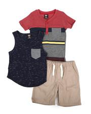 Sets - Knit Tops & Twill Bottom 3 Piece Short Set (4-7)-2223736