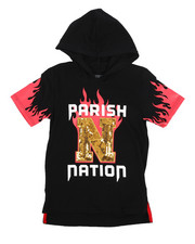 Parish - On Fire Print Hooded Tee (8-20)-2224465