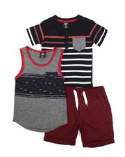 Sets - Knit Tops & Twill Bottom 3 Piece Short Set (4-7)-2223775