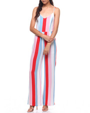 Jumpsuits - Stripe Tie Front Open Back Jumpsuit-2224962