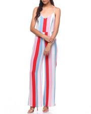 Fashion Lab - Stripe Tie Front Open Back Jumpsuit-2224962