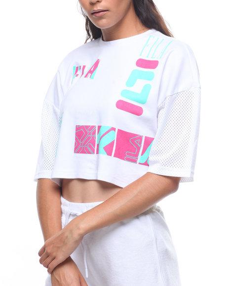 b6a075a03b Buy Midouri Mesh Sleeve Logo Boxy Tee Women's Tops from Fila. Find ...