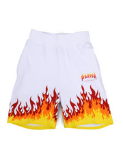 Boys - On Fire Printed Knit Shorts (4-7)-2224503