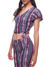 Women - Printed Surplus Tie Front Top-2224848