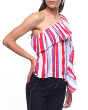 Tops - One Shoulder Strip Ruffle Side Blouse-2224949