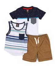 Arcade Styles - Knit Tops & Twill Bottom 3 Piece Short Set (2T-4T)-2223745