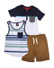 Sets - Knit Tops & Twill Bottom 3 Piece Short Set (4-7)-2223753