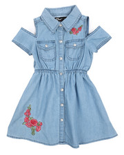 Dollhouse - Cold Shoulder Denim Shirt Dress (2T-4T)-2224401
