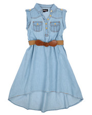 Girls - Belted Hi Low Chambray Dress (7-16)-2224415