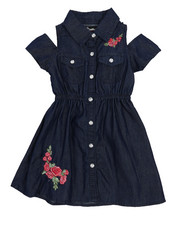Girls - Cold Shoulder Denim Shirt Dress (2T-4T)-2224406